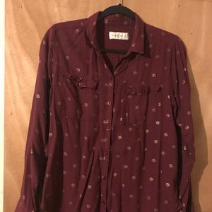 Abercrombie and Fitch maroon and gold button down.